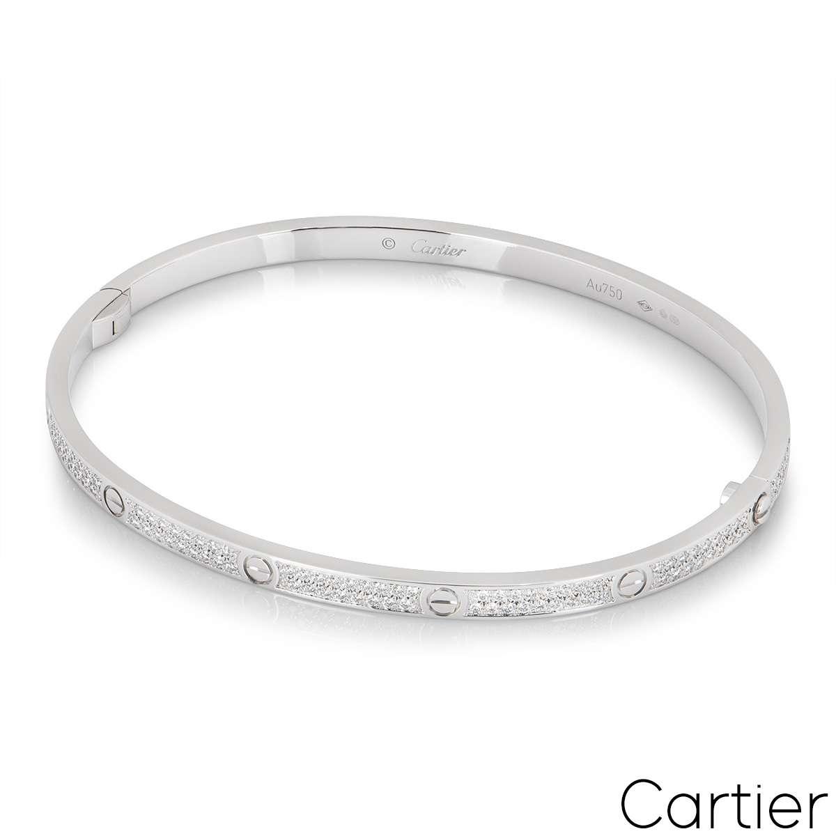 Cartier White Gold Pave Diamond SM Love Bracelet Size 16 N6710816